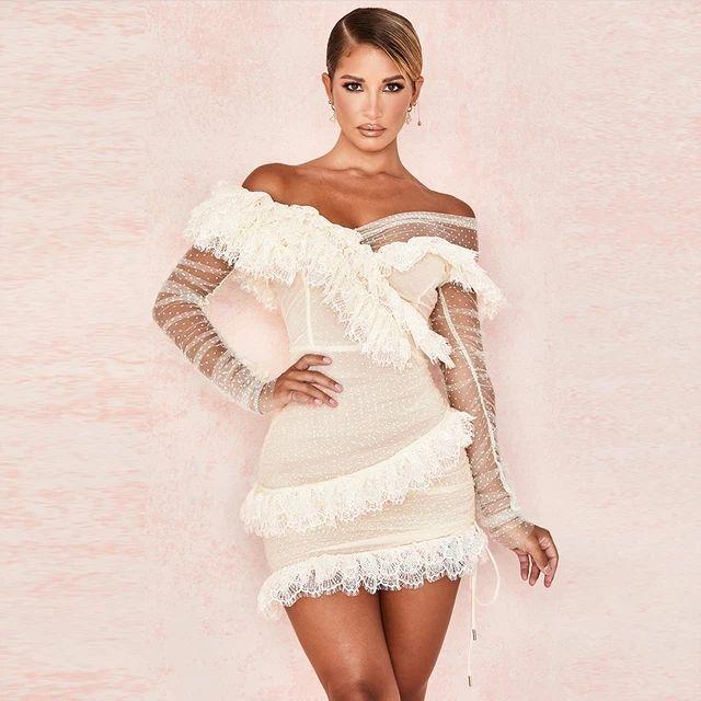 Олень Леди с длинным рукавом с плеча платье лето 2020 Белые кружева платье Bodycon Celebrity партии клуба платья вечера женщин