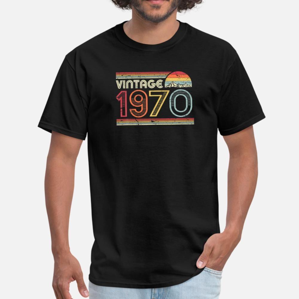 50. Geburtstag Gif klassische Weinlese-1970 T-Shirt Männer Customized kurze Hülse plus Größe 3xl Kawaii Gebäude-Sommer-Art Kawaii Hemd