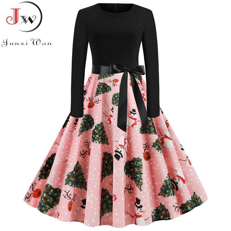 Plus Size Elegant Printed Christmas Dress Vintage Winter Casual Midi O Neck Party Dresses Long Sleeve Robe Vestidos