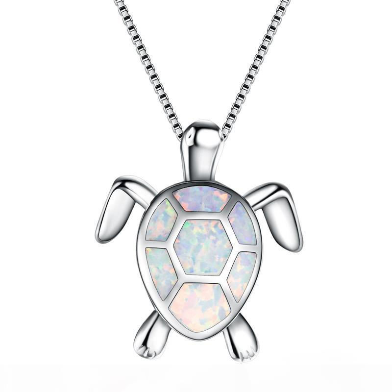 Cute 4 Color Opal Turtle Necklace For Women Platinum Filled Pendants & Necklaces Gift For Lovers Sweater Chain