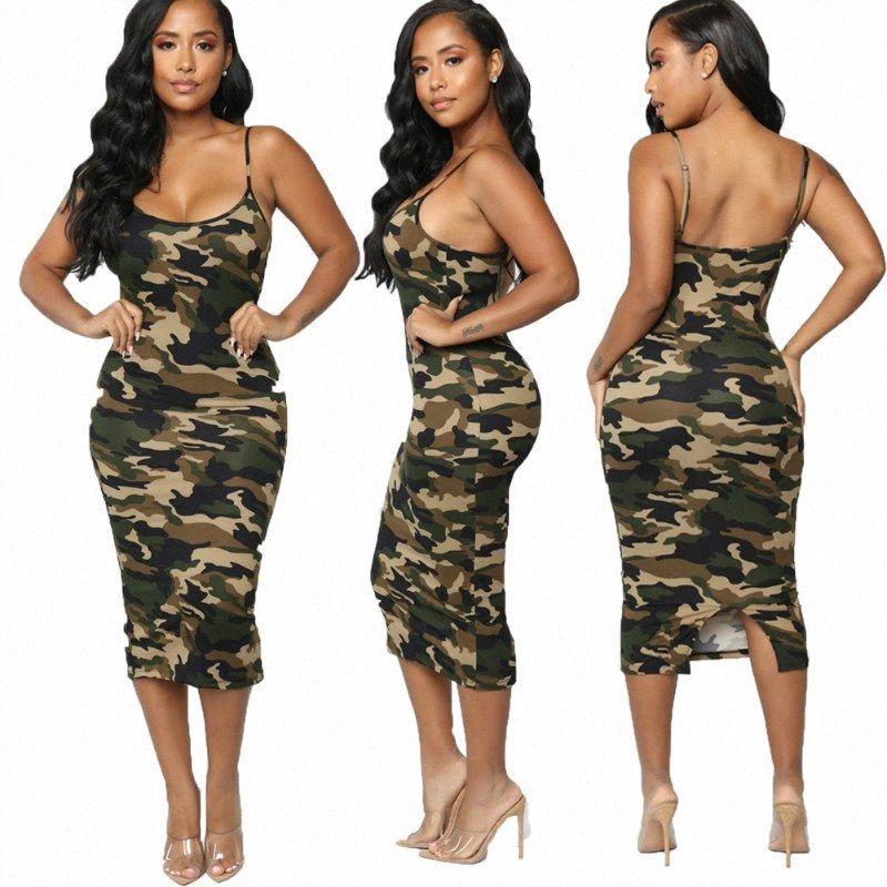 2020 Mais recente moda praia do verão vestido de verão Moda Camouflage Womens Bodycon mangas Vestido de Verão ocasional das senhoras vestido de festa E Formal hZ6N #