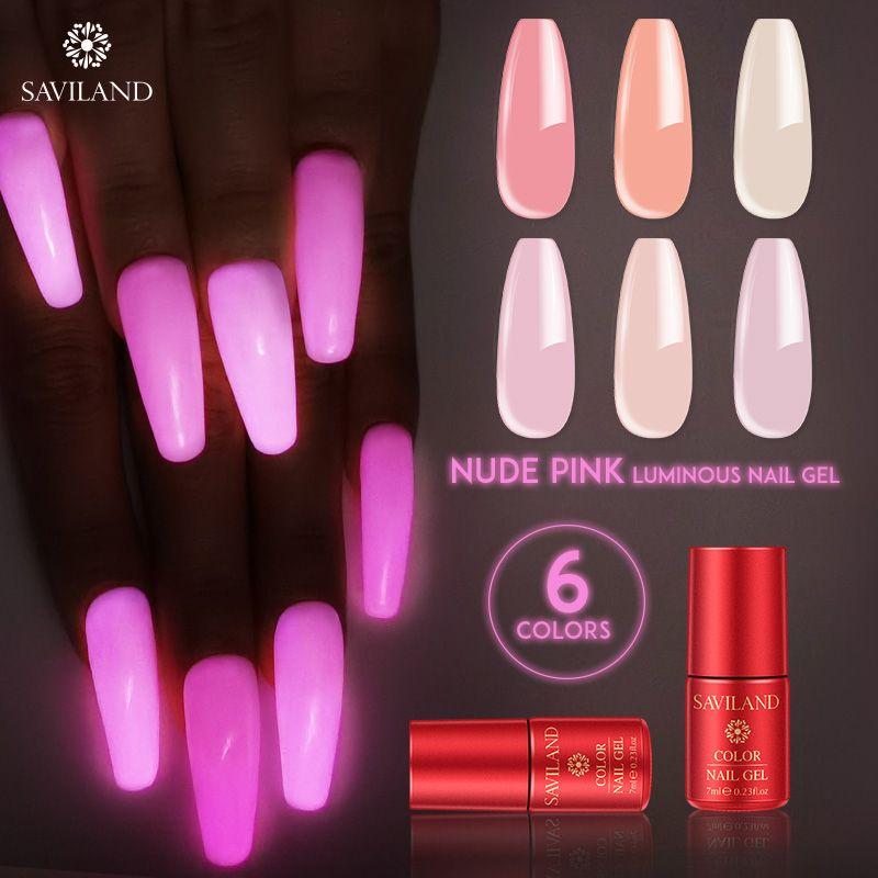 SAVILAND Phosphorescent Nu rose foncé Gel DIY lumineux Gel Vernis à ongles polonais UV Soak Off Semi Permanent Nails Design
