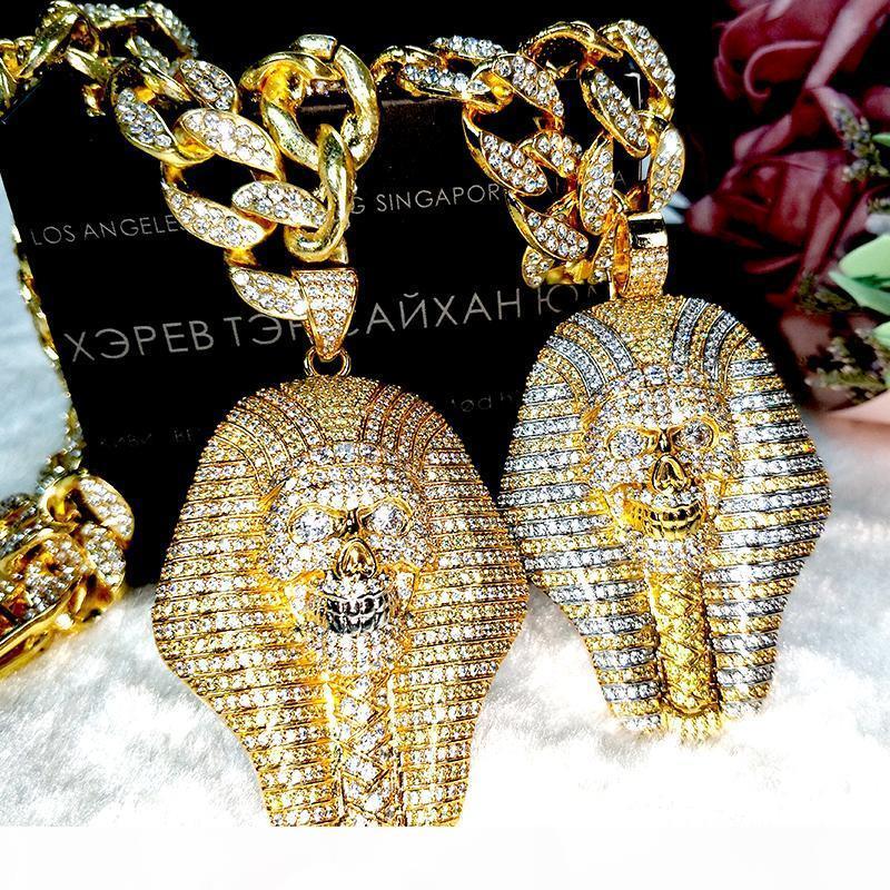 Plata helada caliente 24K cabo egipcia cobre faraón diamantes de cristal de circón de vacío collar plateado pendiente de la joyería collar pop