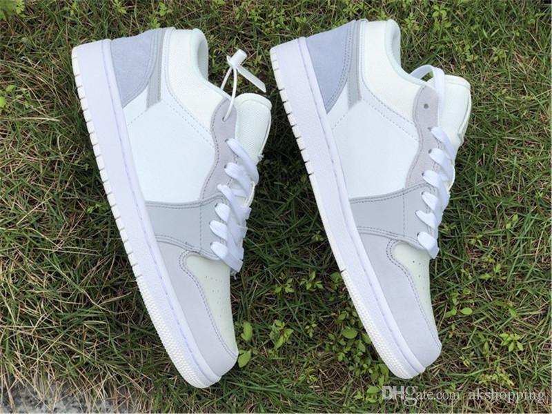 2020 Выпуск 1 Low Париж PRS Баскетбол обувь Мужчины Женщины Белый Sky Серый Футбол Серый Замша Аутентичные качества кроссовки с оригинальным Box