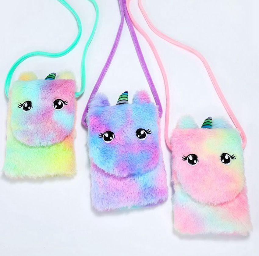 Petite licorne fille peluche Porte sac à main enfants Sac à bandoulière pour les enfants tout-petits bébé de licorne en peluche Messenger Bag Sacs en peluche KKA8010-1