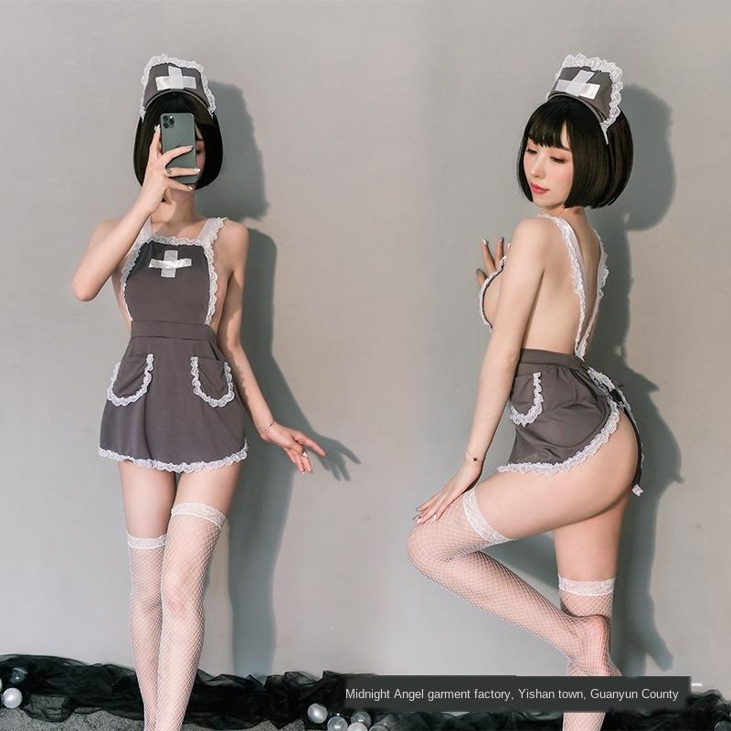 lLtnQ Meilikou atractiva atractiva del cordón de la ropa interior de encaje sin espalda tentación uniforme de la enfermera de hilo transparente cruz de la ropa interior de las mujeres de hendidura