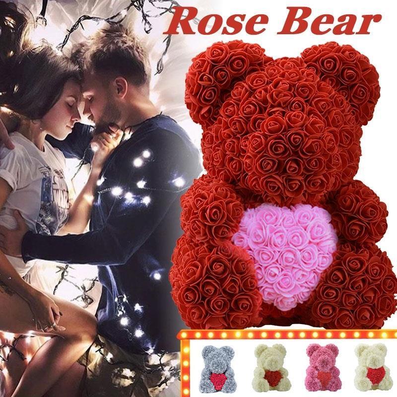 PE Schöne künstliche Rose Bär Puppen Heart-Shaped Toy Romantische Rose Bär