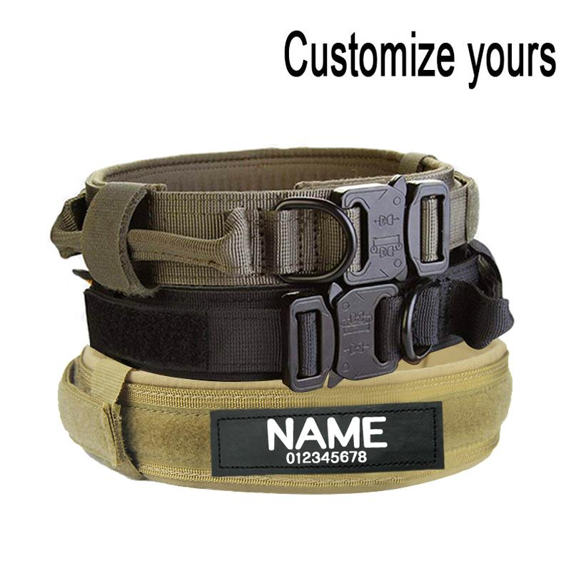 Hundekragen mit Hundetikett Nylon einstellbar militärischer taktischer großer Hundehalsband mit Grifftraining läuft kundenspezifische Pet-Kragen Y200515