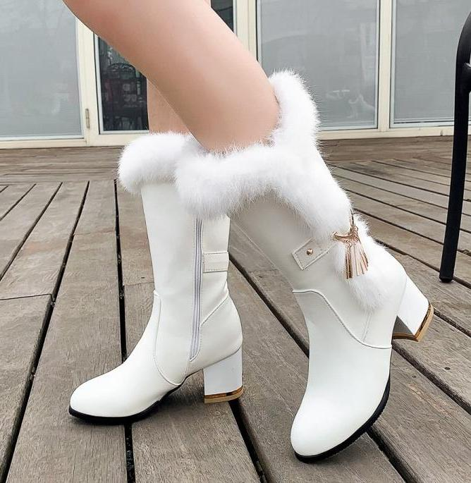 size 33 42 to 46 adorable bridal wedding chunky heels white fur boots designer winter 01