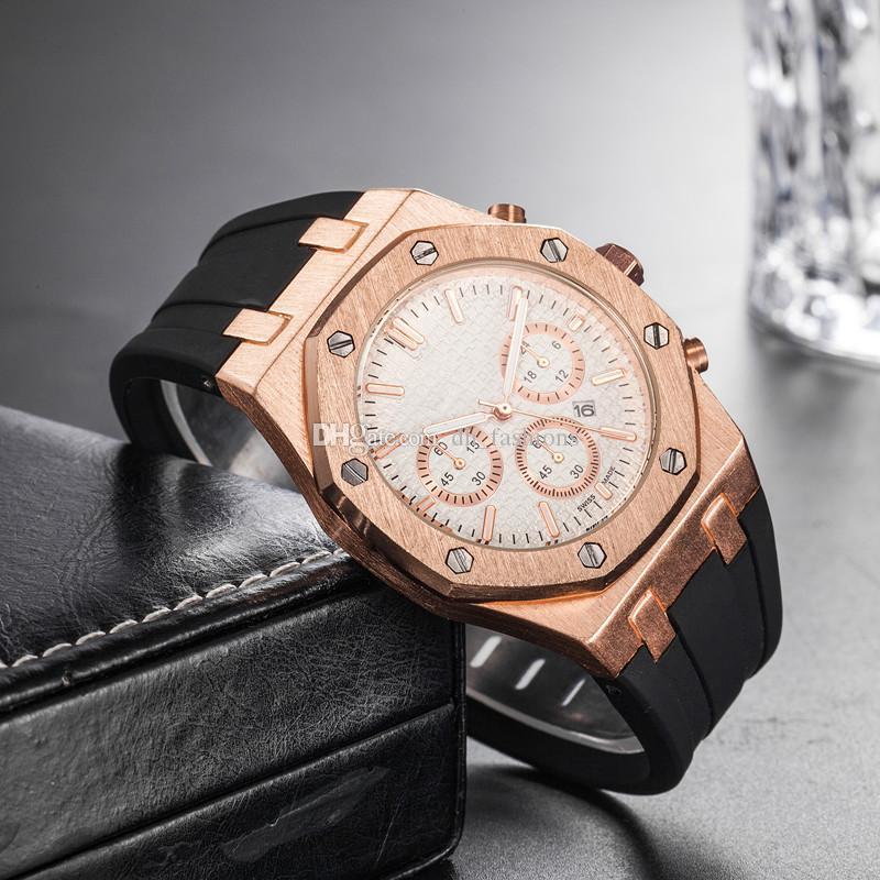 Melhor 45 milímetros Atacado preço barato Mens Wrist Watch Sport Movimento Quartz Masculino Time Clock Veja com Rubber Band no mar