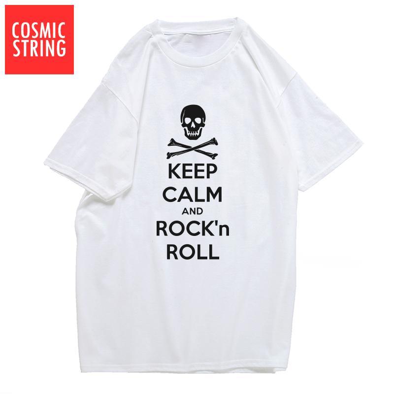KOZMİK STRING% 100 pamuk tutmak sakin ve sallanan rulo baskı erkekler Tişörtlü gündelik yaz gevşek erkek tişört o-boyun tshirt tişörtlerin