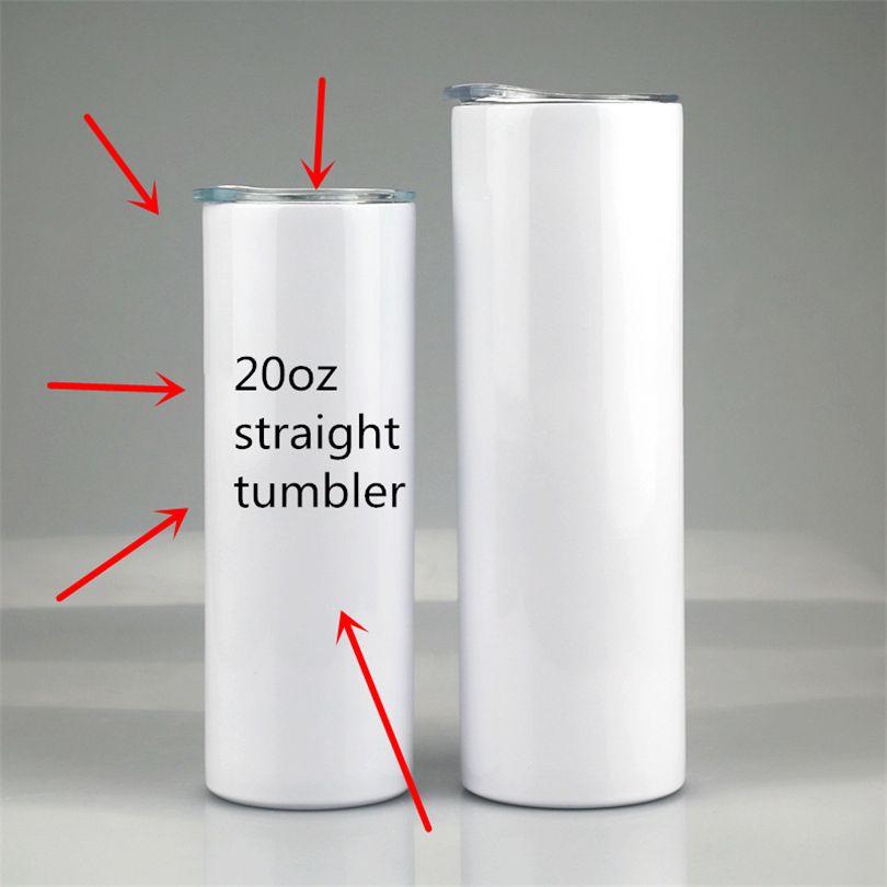 Subblimação térmica 20oz tumblers skinny tumblers transferência de calor Copas retas podem DIY de aço inoxidável tumblers isoladas garrafas de água com tampa