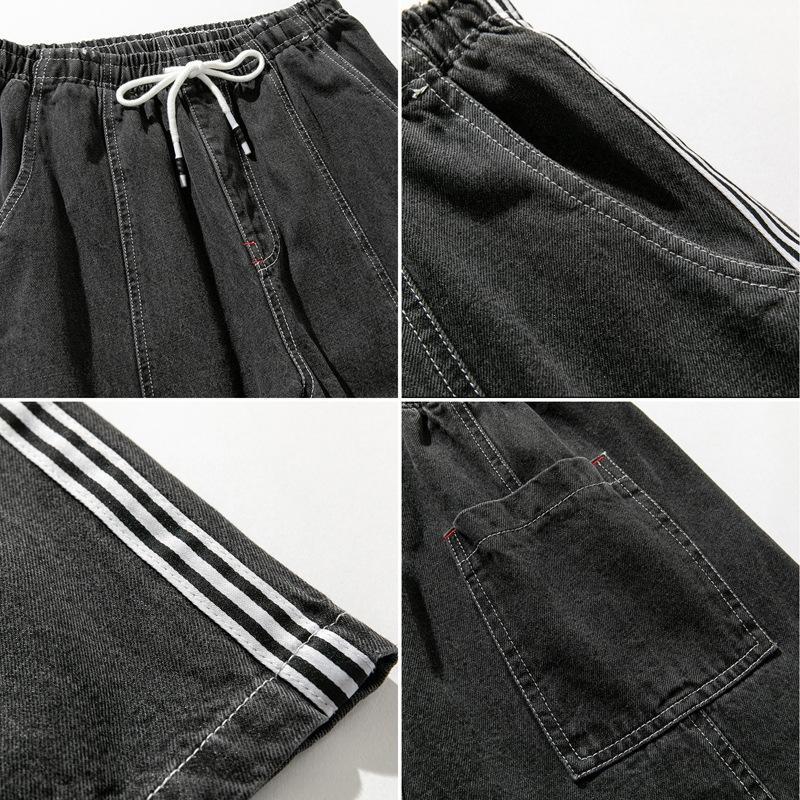 VvUEI erkek moda kot düz pantolon kot İş kıyafetleri marka yağ artı boyutu artı uzun pantolon gevşek gündelik geçici iş giysilerini kırpılmış