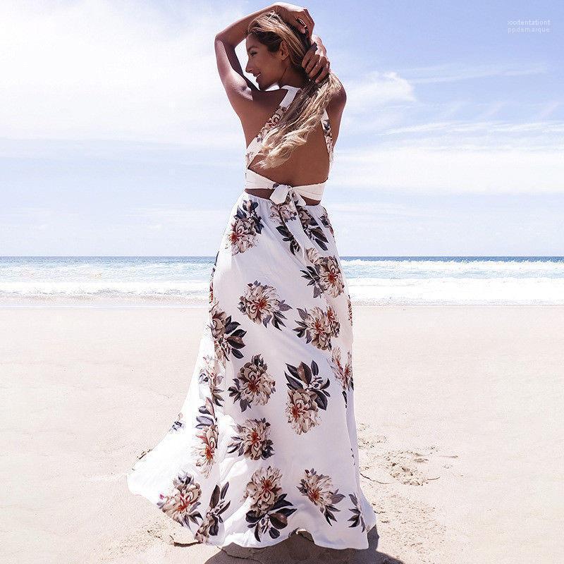 Sexy Slipt estate Backless Beach Dress Flora ha stampato il vestito per le vacanze Designer Halter delle donne Abiti Moda Estate