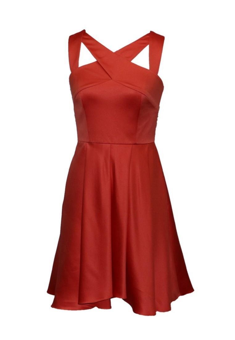 Anne F Гламурный элегантный вечный очаровательный сказочный модный V-образным вырезом Сатиновый коралл в цвете короткое вечеринка