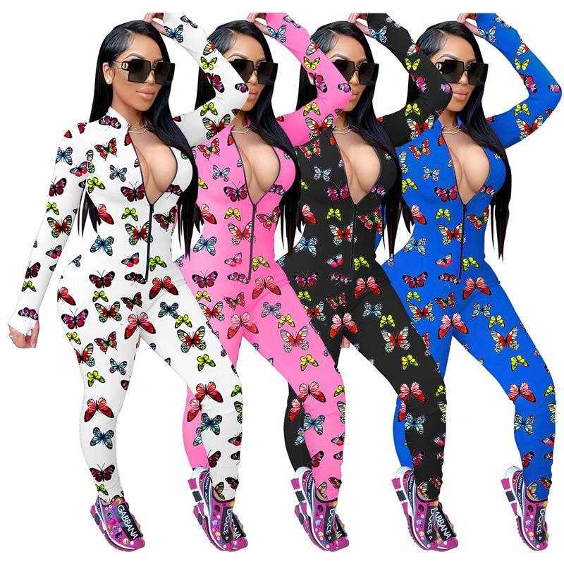 Femmes Sexy Jumpsuit Slim papillon imprimé à manches longues Zipper Costume du Club Ladies New Mode et à l'automne hiver 2020 Barboteuses Oneies