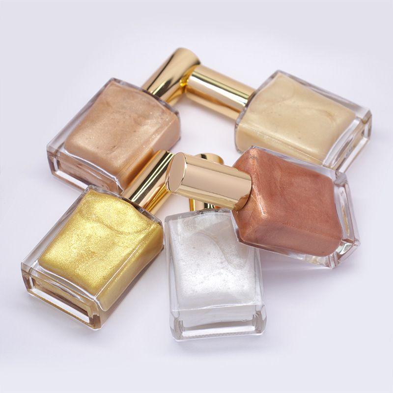 Cosméticos de logotipo Resalte spray de 5 tonos Liquid Glow reluciente del Primer Brillo de resaltado de petróleo por cara y la piel cuerpo libera el envío