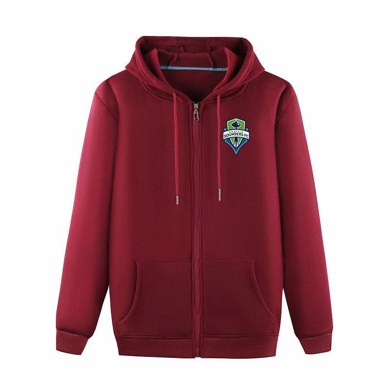 Seattle Sounders FC 2020 moda pelusa de moda casual hombres deportes al aire libre floja de gama alta de la chaqueta de la chaqueta de la cremallera de la chaqueta con capucha de entrenamiento de fútbol
