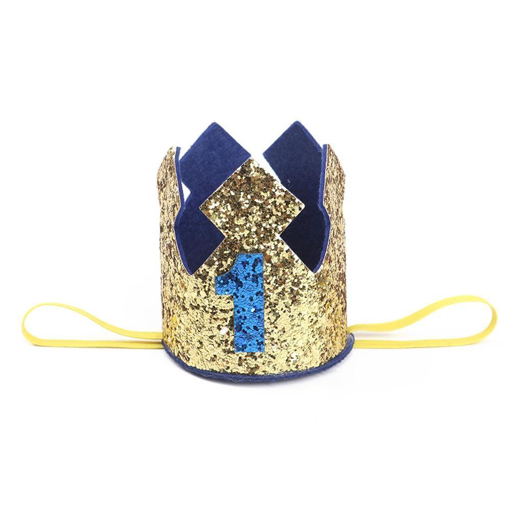 Gold Glitter Nummer 1 2 3 Baby-erste Geburtstags-Crown-Hut Prinzessin Crown Jährig-Party-Baby-Duschen-Dekor-Stirnband für Kinder Geschenke Blaus