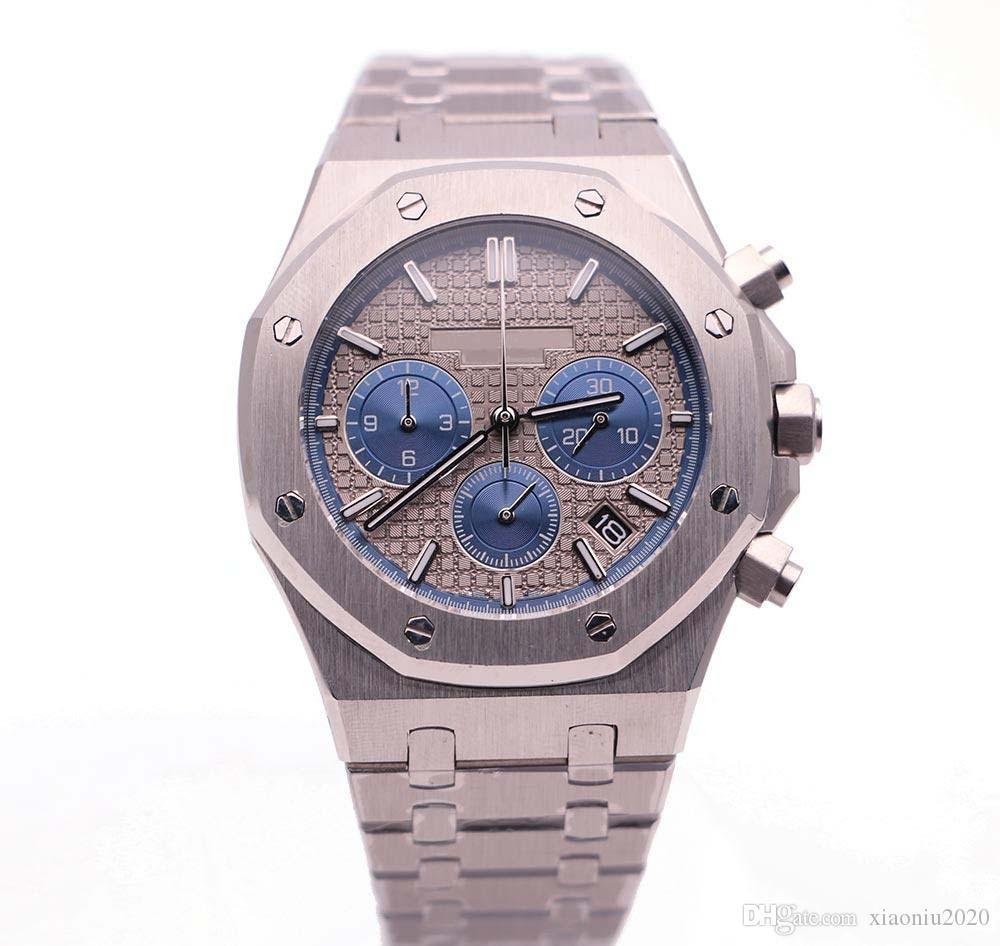 2019 Новая серия 26330 серебро из нержавеющей стали ремешок синий серый кварцевый хронограф Мужские спортивные часы Бесплатная доставка
