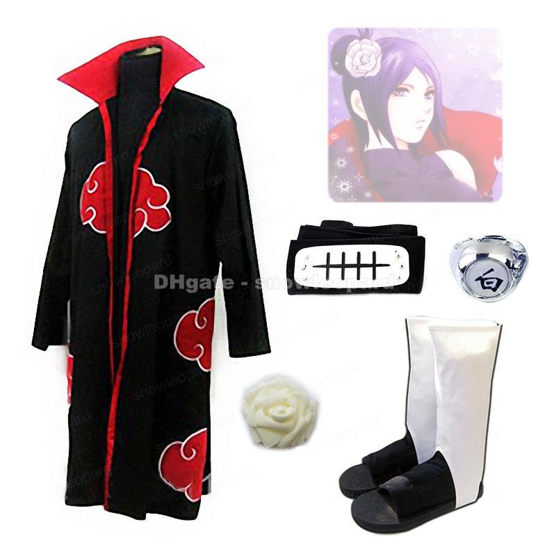 Naruto Konan Cosplay Costume Whole Set Akatsuki Cloak Shoes Finger Ring Headband Head flower Women Halloween