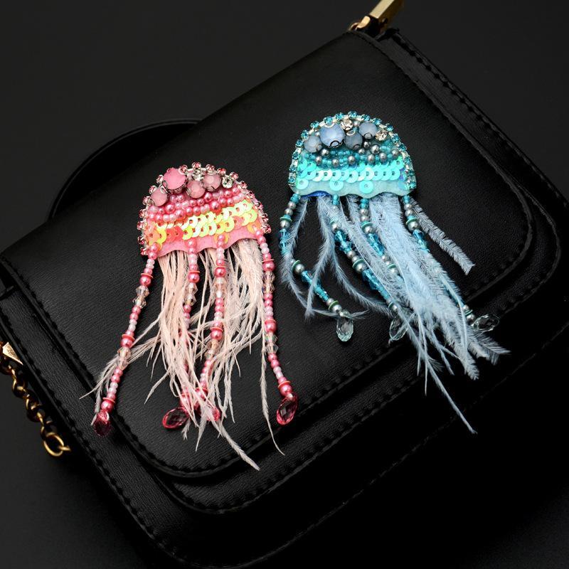 perline perno 20200816 Handmade tridimensionali meduse frange spilla femminile spilla distintivo accessori maglione