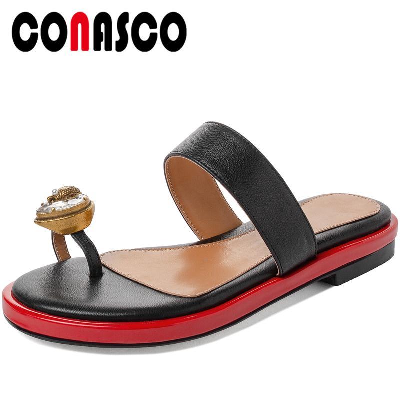 Conasco donne sandali del cuoio genuino pantofole Estate 2020 Tacchi nuovo minimo di cristallo di modo casuale Beach piatto con le scarpe da donna