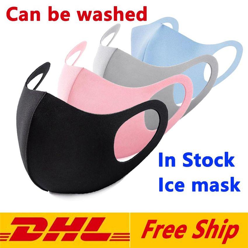 DHL Serbest gemi Anti Toz Yüz Ağız Kapak PM2.5 Stokta Solunum toz geçirmez anti-bakteriyel Yıkanabilir Yeniden kullanılabilir Buz İpek Pamuk Maskeler Maske