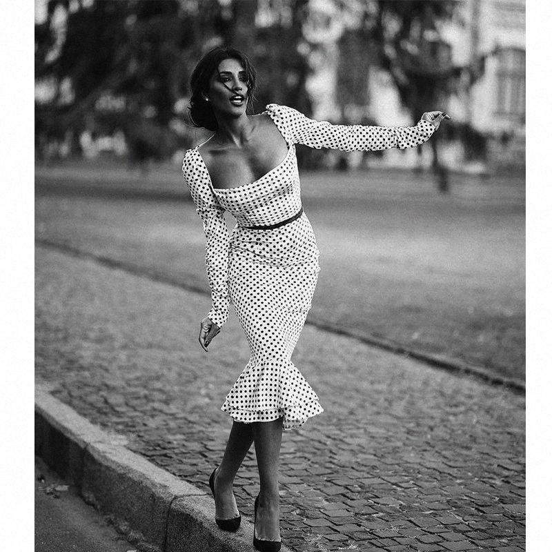 automne polka femmes noires à manches longues dot bureau mince avec une robe en queue de poisson collier de mot (sans ceinture) Y200103 collr fishtil o f4f1 #