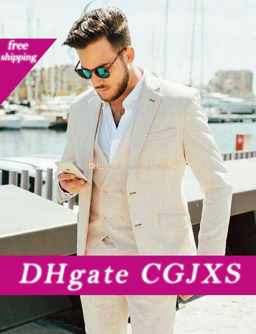 Trajes de lino para el verano beige novio de la despedida de los hombres de la solapa de muesca esmoquin Prom comerciales Cena Blazer fragüe la capa (chaqueta y pantalones chaleco corbata) K213
