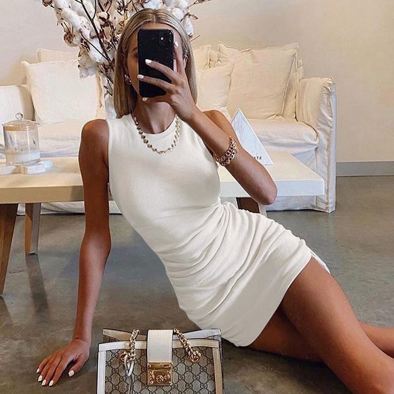 2020 vestidos sin mangas cortas con cordón Mujeres O-cuello delgado elástico acanalado del hombro vestido de fiesta Mini verano ocasional Sólido