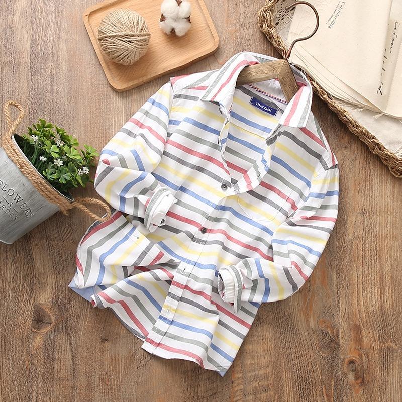4o3zM usure 2020 printemps nouveau style coréen tong chen shan pour enfants rayé chemise à manches longues coton de garçons tong chen shan moyennes et grandes ch
