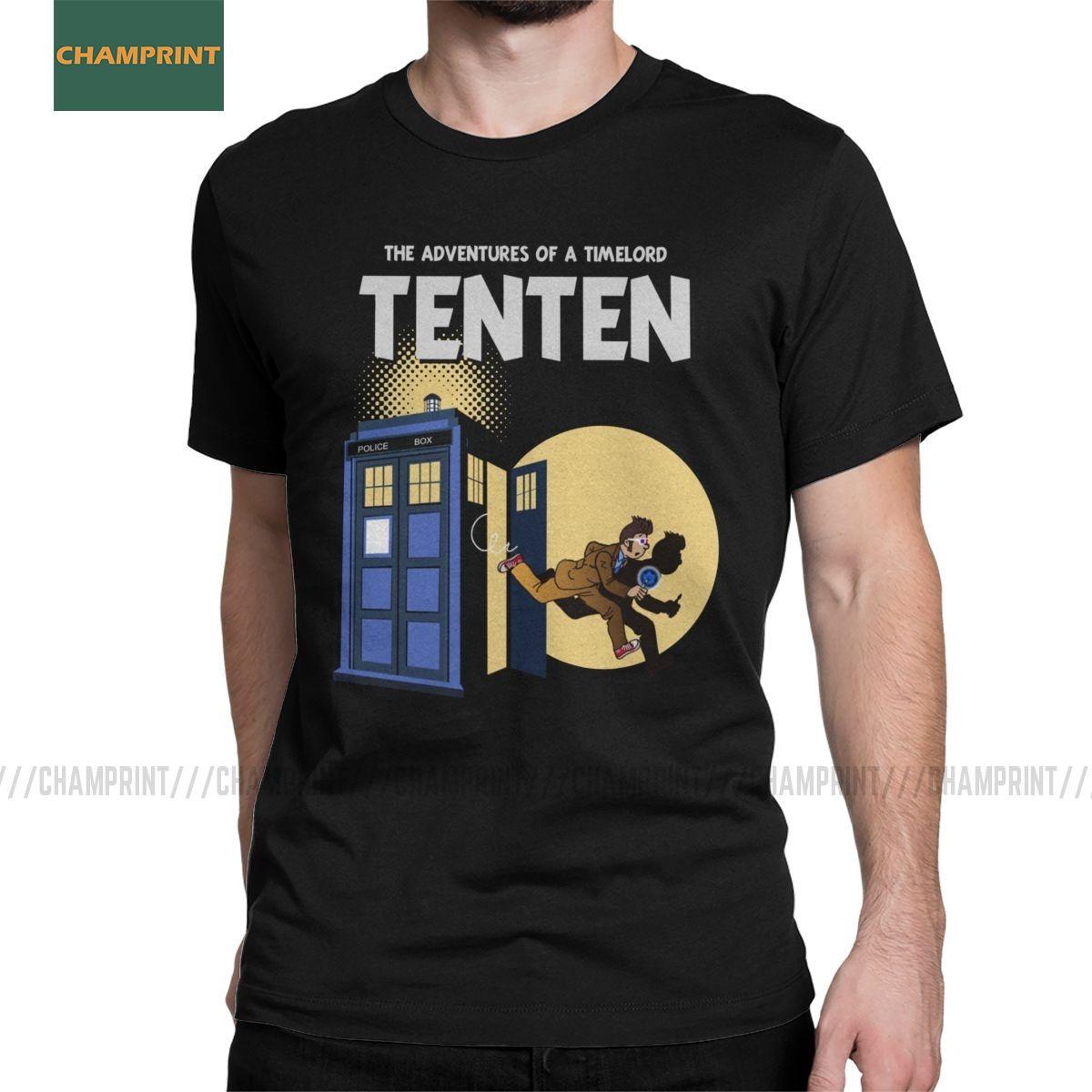 Tenten Doctor Who T-shirt Homens Tardis lobo mau Dalek Gallifrey Timelord Blue Box Cotton Tees camiseta manga curta tamanho grande Tops