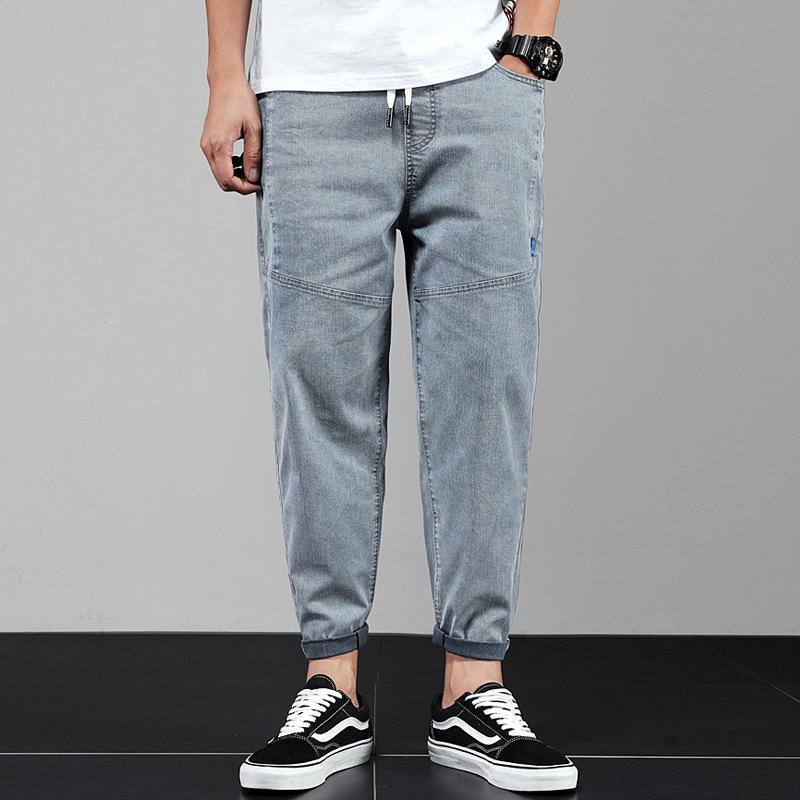 Frühlings-Sommer-Art und Weise br Herren-lose große und Jeanshose und Jeans Größe elastisch elastisch Pluderhosen trendy Vernähen beiläufigen Knöchel-lengt