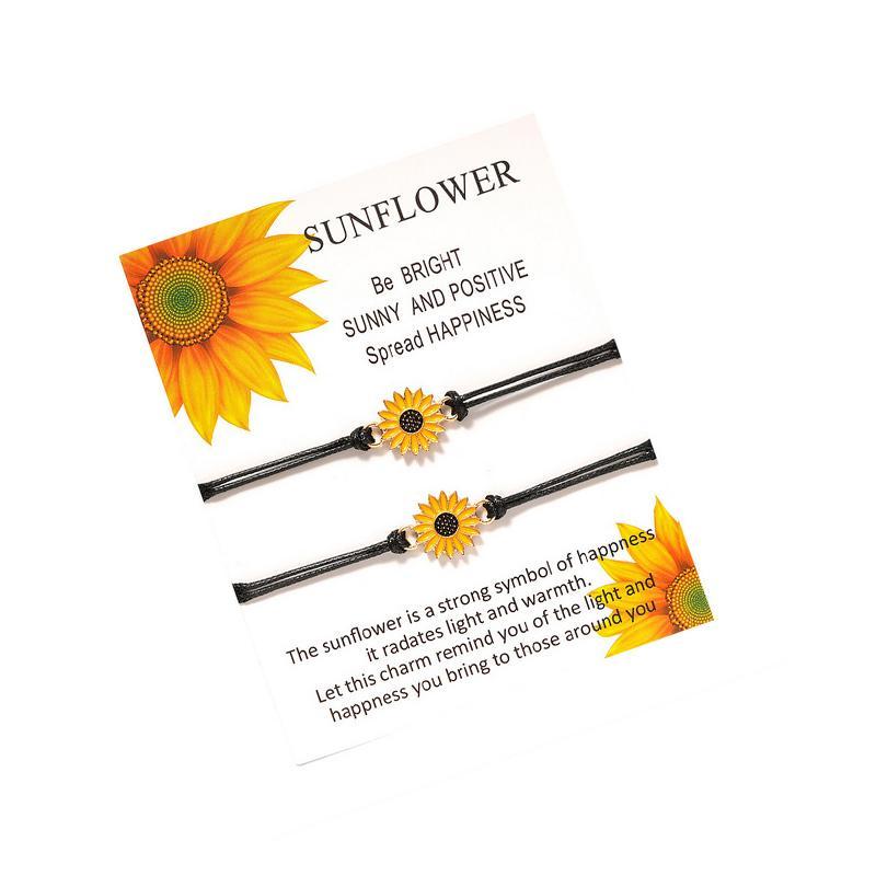 Nette Sonnenblume Armband mit Geschenk-Karten-Frauen-Mädchen-Blumen-Wunsch-Armband-Geschenk für die Lieben Freund Modeschmuck Accessoires