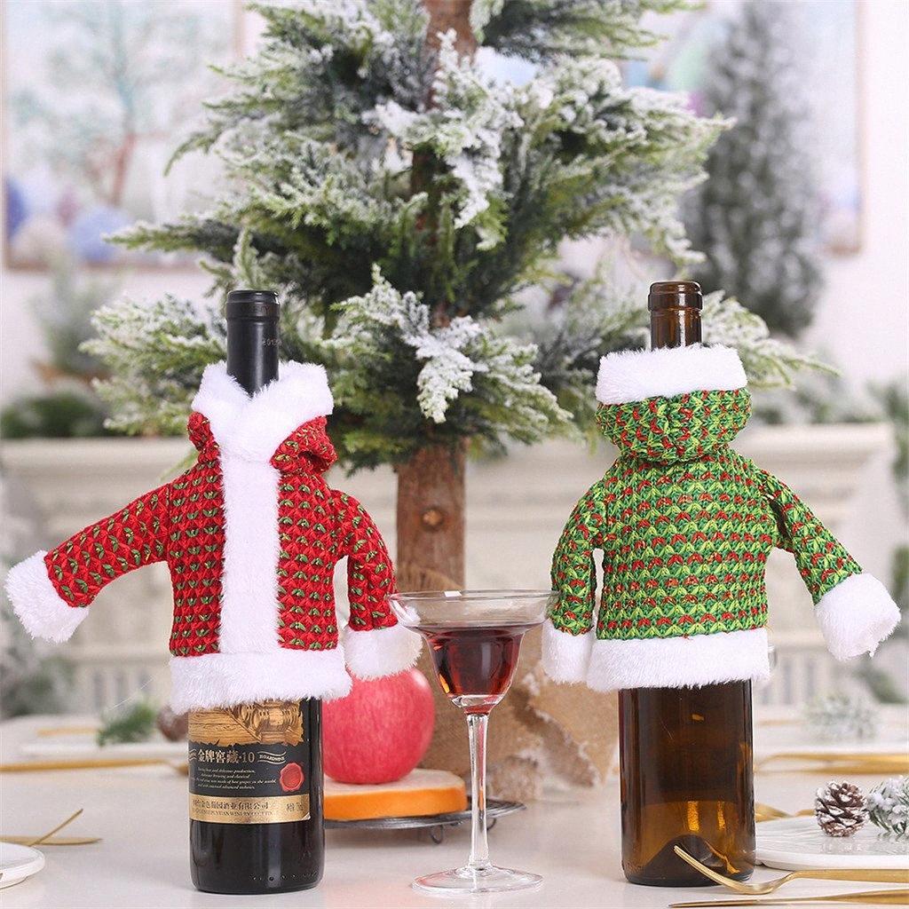 Noel Dekorasyon Home For Triko Şişeler takımları Old Man Elbise Şişe Giydirme Noel Baba Kardan Adam Mutfak Aksesuarları LqSs #