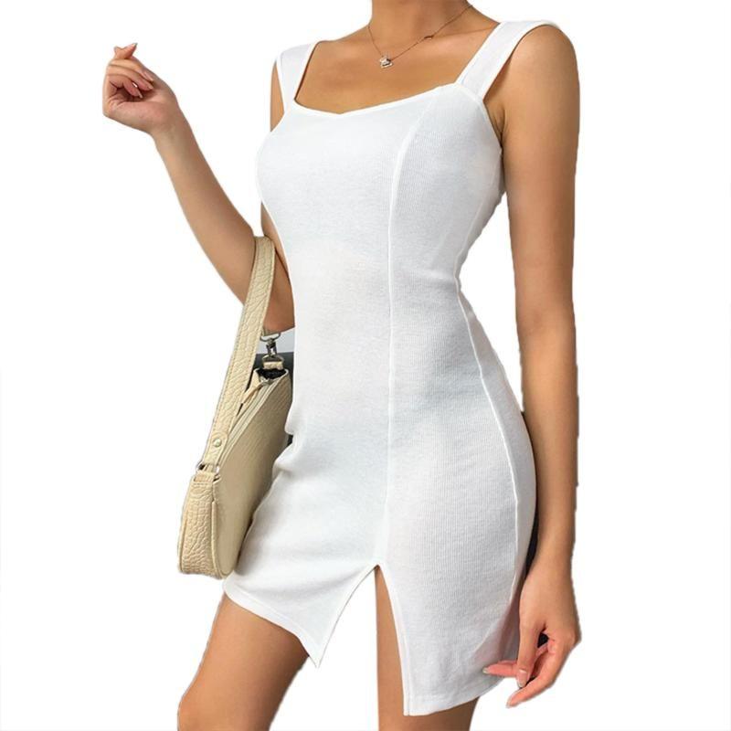 Sıcak Yaz Bayanlar Parti Elbiseler Katı Renk Geri Hollow Kolsuz İnce Kayış Bodycon Elbise Kadın Vestido Casual Giyim