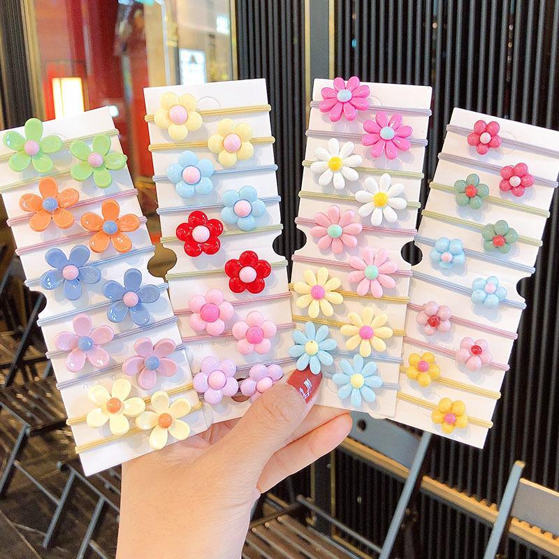 10 ADET / Set Yeni kız Sevimli Renkli Çiçekler Elastik Bantlar Çocuklar at kuyruğu Tutucu Scrunchie Rubber Band Moda Saç Aksesuarları