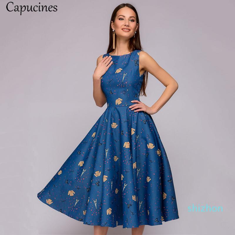 Venda Capucines quentes elegante Dot Vintage Impressão A-Line Mulheres de Verão sem mangas O-Neck Mid-Calf Casual fêmea Vestidos