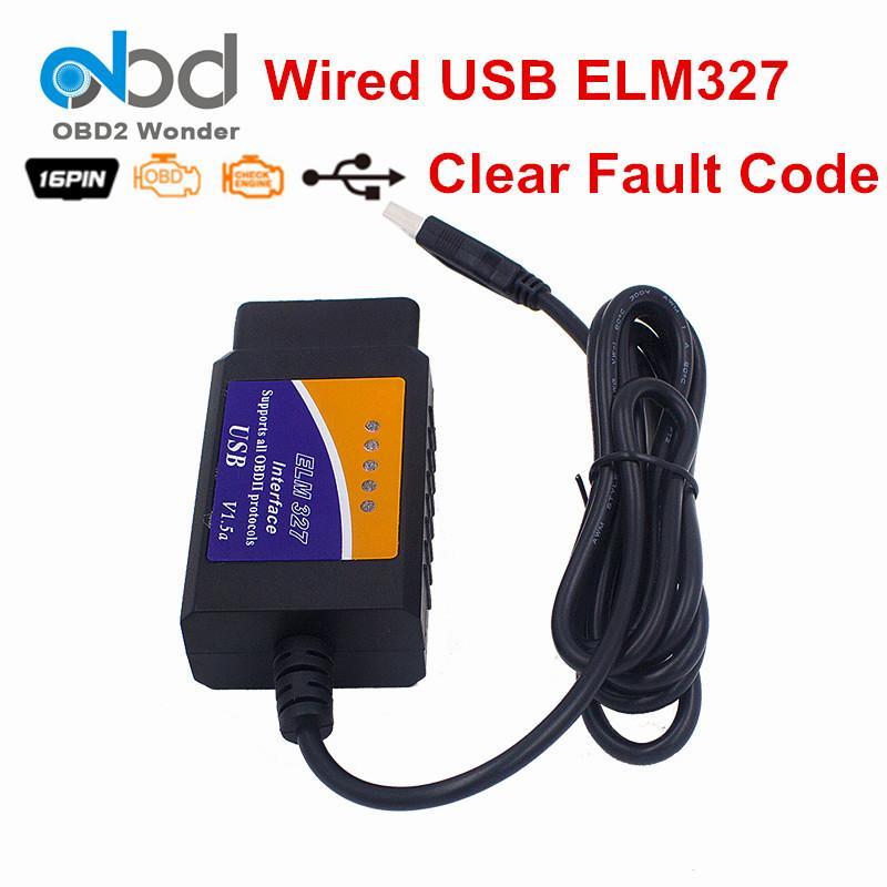 20 pc / plastica del lotto USB ELM327 OBD 2 V1.5 dell'interfaccia dell'OLMO 327 OBDII di codice auto universale del lettore di ELM327 OBD2 auto Scanner per PC
