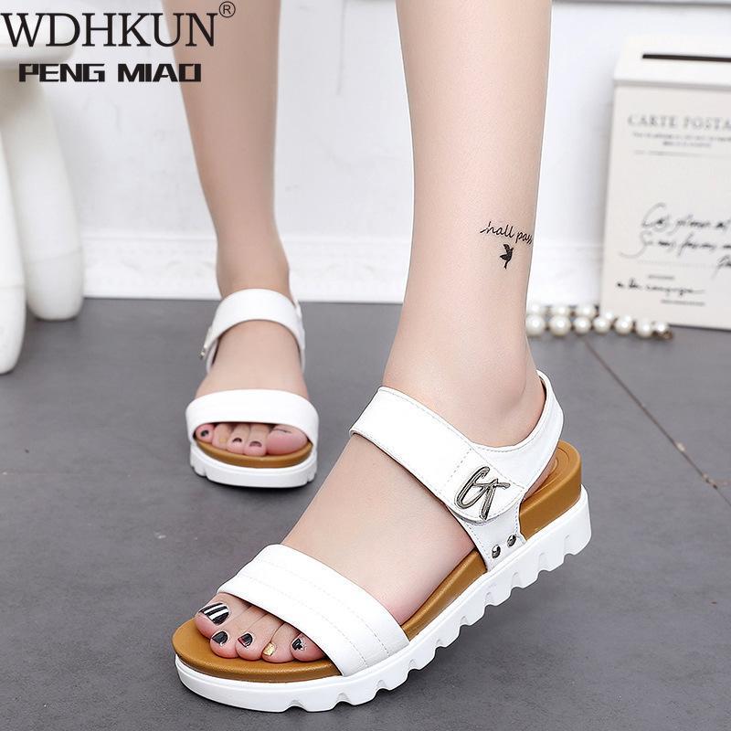 Las mujeres sandalias del cuero de zapatos sandalias planas de tacón bajo las cuñas de las mujeres del verano punta abierta de la plataforma Sandalias Gladiador Damas