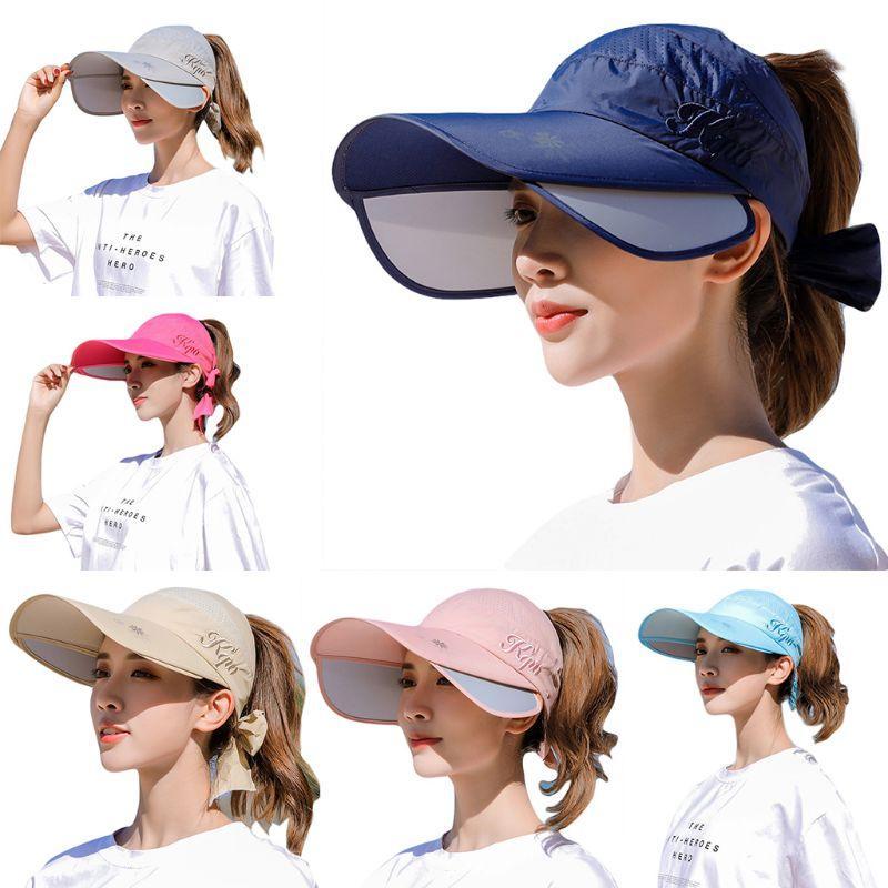 Женщины Лето Выдвижной Широкий Брим ВС Hat Пустые Top Bowknot Письмо вышивка Открытой УФ-защита бейсболка