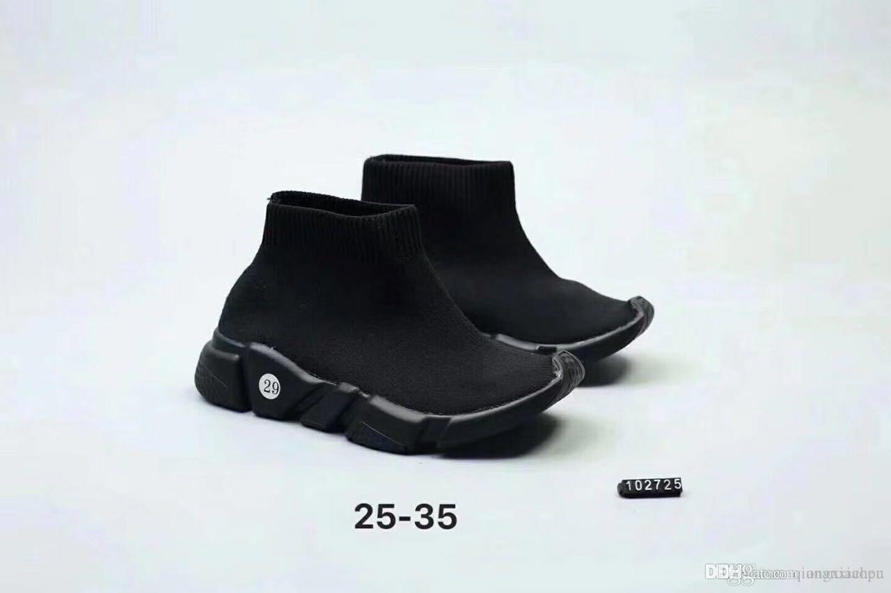 2019 migliore qualità Speed Trainer Nero Designer Sneakers ragazzo di colore rosso dei pattini casuali Moda Calze Sneaker Top Boots Size25-35