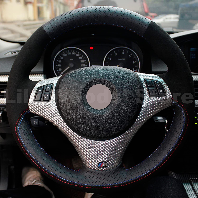 ديي جلدية سوداء حقيقية السيارات مخصص يغطي عجلة القيادة لسيارات BMW 128i 135i / 325I 328I 328xi 328ixDrive / 330xi / 335i 335xi 335D 335i الانجاز