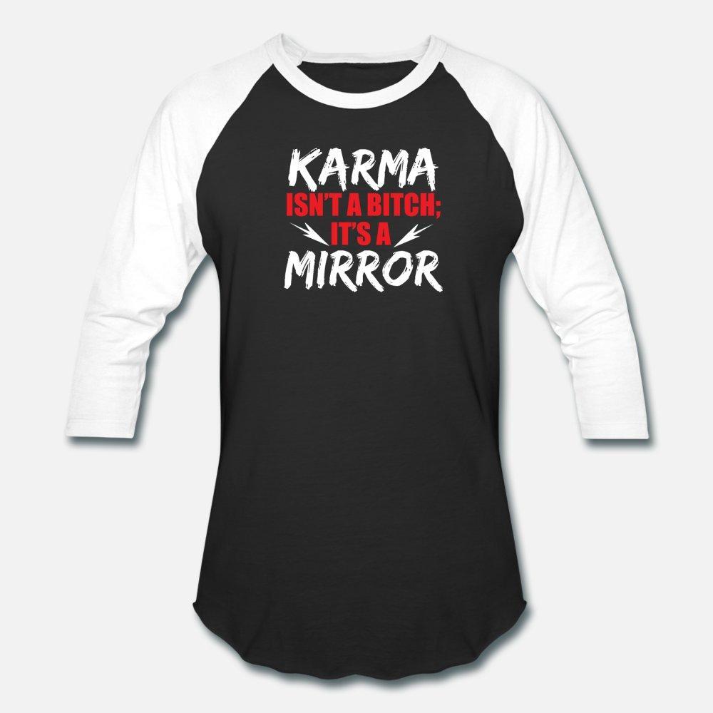 Karma Espelho Sarcasmo Cadela escuro Humor presentes t camisa homens personalizados camiseta O-Neck camisa Interessante magro Outono Lazer Básico Primavera