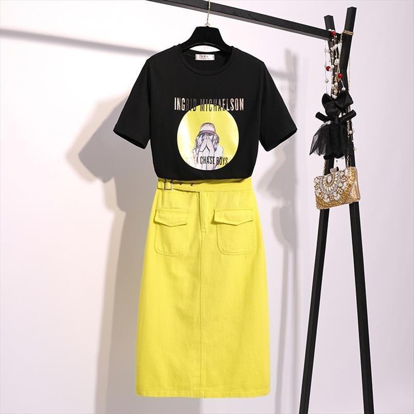 2020 Suits Mulher Estilo Verão de Moda de Nova coreano de manga curta impresso camiseta de algodão Casual elegante saia de Midi Dois conjuntos de peças