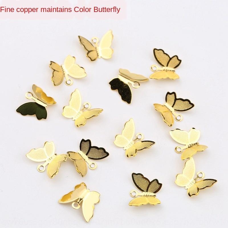 IJJvb puro rame piccole a mano di colore per la conservazione del farfalla Ciondolo in oro argento della nappa piccolo ciondolo accessori fai da te passo antichi handmade cr 59tno