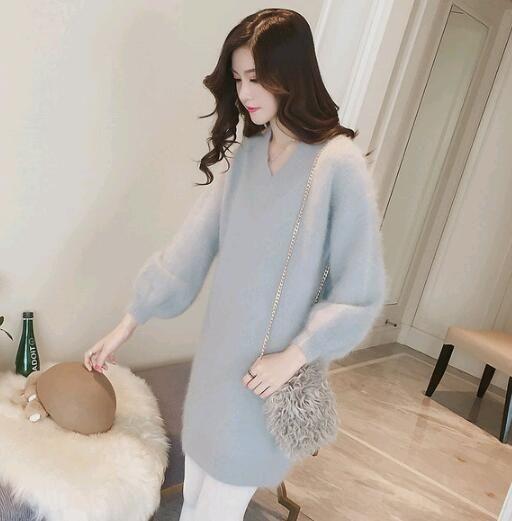 visón suéter 7o48r mucht de Mujeres de mohair de manga larga de invierno de mitad de longitud vestido de suéter de visón del invierno de las mujeres largas de la manga vestido de mohair media eslora