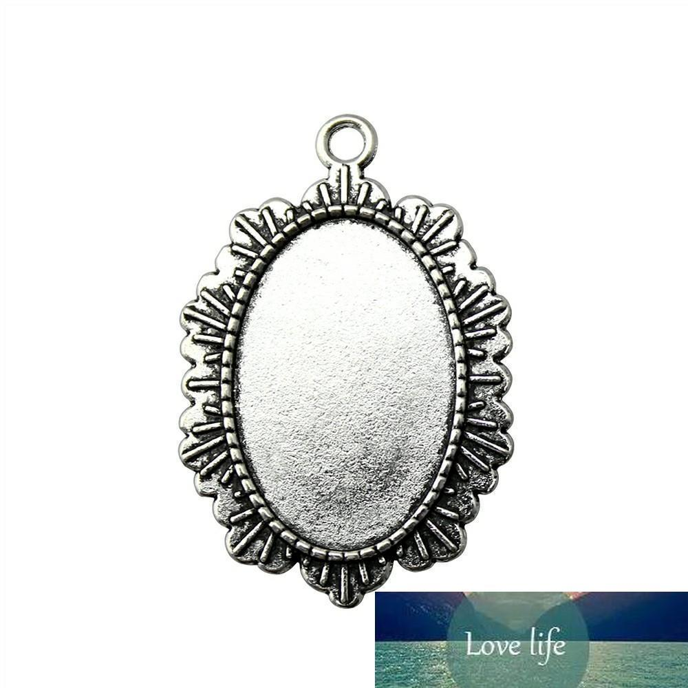 8 Pieces Cabochon Cameo Base Tray Bezel Blank Diy Jewelry Findings Retro Single Side One Hanging Inner Size 20x30mm Oval glass cabochons