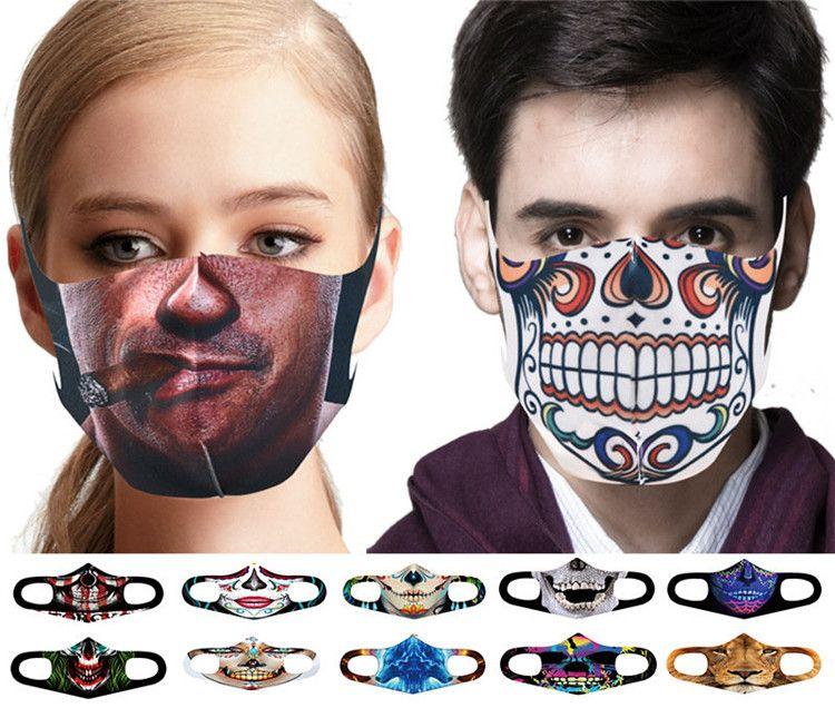 Halloween-Party-Masken Spaß Maske Cosplay Digital Print Neuheit Schädel-Maske Baumwolle Männer Frauen Cosplay Gesichtsmaske Staub Windsicher FY9180